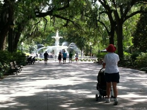wide walkway, pedestrians, fountain - www.ahealthysliceoflife.com